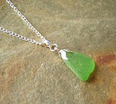 Bright Green English Sea Glass Necklace Sea by NorthumbriaGems