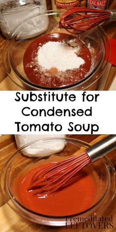 How to Make a Substitute for Condensed Tomato Soup. This quick and easy condensed tomato soup recipe uses common pantry ingredients and can be used to replace condensed tomato soup in recipes.