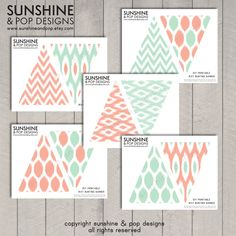 DIY Ikat Printable Flag Bunting Banner - Pink and Aqua Blue Teal - perfect for events, outdoor parties, decorations, baby showers. $8.99, via Etsy.