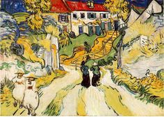 Village Street and Steps in Auvers with Figures  Oil on canvas 49.8 x 70.1 cm.Auvers-sur-Oise: late May, 1890 The Saint Louis Art Museum