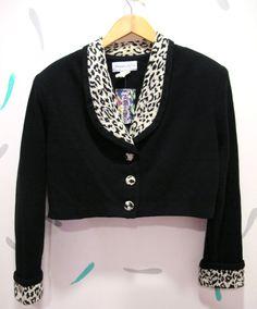 Vintage Cropped Blazer with Leopard Lapels by kokorokoko on Etsy, $32.00
