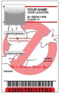 Ghostbusters blank ID badge