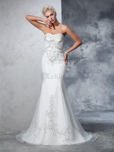 Satin Herz-Ausschnitt Meerjungfrau Normale Taille Ärmelloses Brautkleid