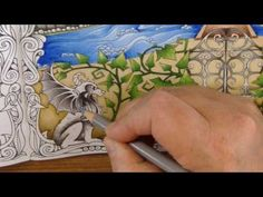Part 7 - how to color a statue - coloring book enchanted forest - prismacolor pencils Enchanted Forest Book, Enchanted Forest Coloring Book, Colored Pencil Tutorial, Colored Pencil Techniques, Coloring Pages To Print, Coloring Books, Coloring Tips, Coloring Tutorial, Colouring Techniques
