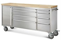 "72"" Stainless Steel Rolling Tool Cabinet w/ Wood Top Features: - 430 Anti-Fingerprinting - 8 Drawers - Rubber Wood on top - 100 lbs Drawer Slide - 2 Side Handles - 4 x 6"" Casters, 2 with brakes, 2 wit"