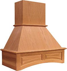 "Range Hoods - 30"", 36"", 42"", and 48"" Wooden Wall Mounted Range Hoods with Chimney and Decorative Arch 