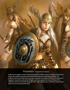 Valkyries by Xia Taptara, from Immortal – Art Book of Myths and Legends – on Kic… – Norse Mythology-Vikings-Tattoo Norse Goddess, Norse Pagan, Old Norse, Valkyrie Norse Mythology, Norse Mythology Tattoo, Mythological Creatures, Mythical Creatures, Valkyrie Tattoo, Legends And Myths