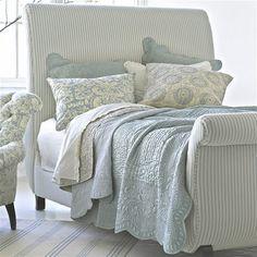 Cottage ♥ Linen Upholstered Bed