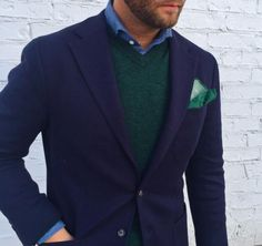 beckettrobb:  Wool jersey sport coat. The jersey weave gives the fabric a lot of natural stretch, making this cloth super comfortable, like a sweater/jacket. Another good example of how to nail that mid-ground between dressy and casual. Custom by us. www.BeckettRobb.com