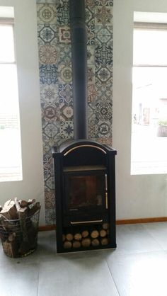 Wood Stove Wall, Corner Wood Stove, Barn Living, Living Area, Fireplace Surrounds, Interior Ideas, Sweet Home, New Homes, Garage