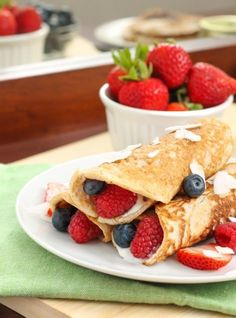 #Recipe: Paleo Coconut #Crepes with Mixed Berries