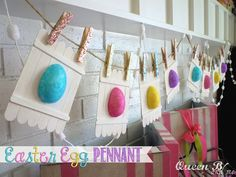 """Cute Easter Banner, love the little """"fences"""" made with popsicle sticks!"""
