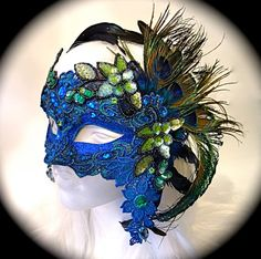 Peacock Lace Masquerade Mask Costume Masks by Marcellefinery