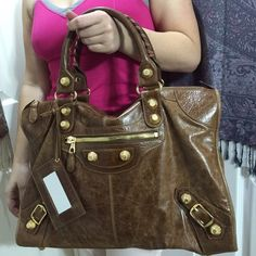 """Balenciaga City large bag ❤️ Color brown with gold hardware , goatskin made , size 17""""x12x6"""",strap drop 6.5"""", the bag is great condition, silver 925 plate Balenciaga Bags Shoulder Bags"""