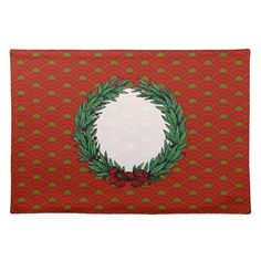 Vintage Red & Green Ribbon Bow Christmas Wreath Place Mats