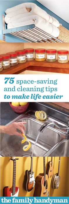 75 Space Saving and Cleaning Tips to Make Life Easier - If your place is a mess after the holidays check out some space saving and cleaning tips to make life easier. Put those presents away and clean that tinsel. Diy Cleaning Products, Cleaning Hacks, Organizing Your Home, Organizing Tips, Life Organization, Household Organization, Do It Yourself Home, Spring Cleaning, Getting Organized