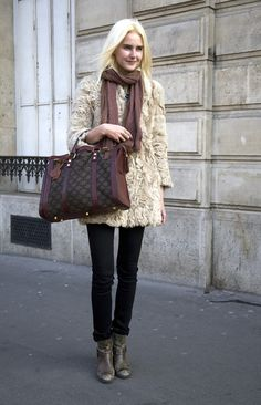 Blonde curly lamb shearling coat