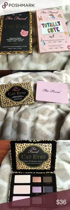 AUTHENTIC TOO FACED CAT EYES AND TOO CUTE $36 EACH AUTHENTIC TOO FACED CAT EYES AND TOO CUTE PALETTE SOLD SEPARATELY $36 EACH Too Faced Makeup Eyeshadow