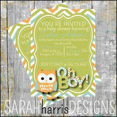 Owl Baby Shower Invitation chevron boy green by SarahHarrisDesigns, $10.00