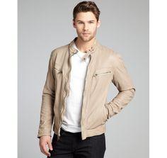 Cole Haan clay lambskin leather zip front motorcycle jacket