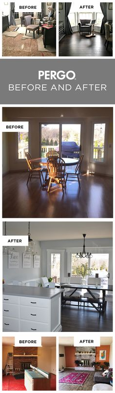 Thinking about installing new flooring? Whatever Pergo floor you choose, you'll love how its style and features can instantly upgrade your home. For inspiration, we're sharing our favorite before and after room transformations that feature Pergo flooring styles sold only at The Home Depot. These are real images submitted by real customers. Get inspired now!
