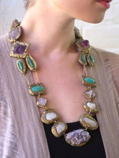 Multi-Mineral Amethyst Garden Statement Necklace with por Pauletta - October 19 2019 at Crystal Jewelry, Beaded Jewelry, Jewelry Necklaces, Beaded Necklace, Silver Jewelry, Maxi Collar, Quartz Rose, Vintage Jewelry, Unique Jewelry