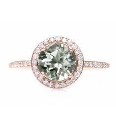 Rare Earth Rose Gold Green Amethyst Diamond Halo Engagement Ring