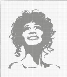 Whitney Houston x-stitch