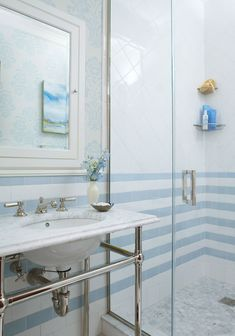 Blue and White Tile Bathroom Idea. 20 Blue and White Tile Bathroom Idea. Blue and White Tile Bathroom Halcyon House Cabarita Beach Blue Green Bathrooms, Blue White Bathrooms, Blue Bathroom Tile, French Country Bathroom, White Bathroom Decor, White Bathroom Tiles, Tile Bathroom, Blue Bathroom Decor, Luxury Bathroom Tiles