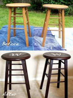 Such an easy DIY to upcycle an old set of stools from a thrift shop...they don't even have to match in the beginning