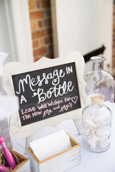 Message in a bottle guest book sign in table - Yorktown Freight Shed