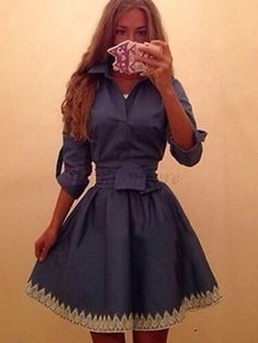 Lady's Bicolor Tie Waist Turn Down Collar Denim Casual Dress Blue on fashionsure.com