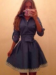 Lady's Bicolor Tie Waist Turn Down Collar Denim Casual Dress Blue on fashionsure.com