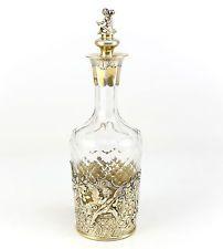 Berthold Muller London Sterling Silver Crystal German Hanau Import Decanter 1924