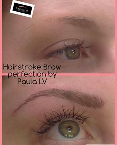 Hair stroke semi permanent eyebrows. A lovely recent before and after and one very happy client!