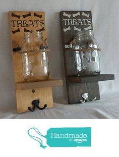 Dog treat and leash holder from Dog Crafts, Animal Crafts, Mason Jar Crafts, Mason Jars, Animal Projects, Diy Projects, Dog Leash Holder, Dog Rooms, Dog Signs