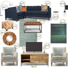 Teal, Navy, and orange Rustic Modern Living Room