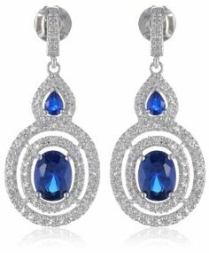 Halo Sterling Silver Oval and Pear Created Ceylon Sapphire Round Created White Sapphire Earrings