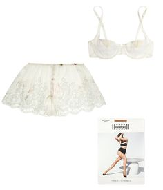 Rosamosario lace-trimmed printed silk-chiffon briefs, $295 net-a-porter.com Yasmine Eslami Tara lace-trimmed stretch-tulle underwired bra, $135 net-a-porter.com Wolford Fatal 15 seamless stay-ups, $40 selfridges.com - Photo: Courtesy of net-a-porter.com (2); Courtesy of selfridges.com