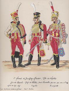 Sergente, ussaro e tromba del reggimento ussari della guardia reale del regno di Murat