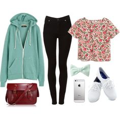 Ariana Grande Inspired Outfit Floral Crop Top ~ Mint Green Jacket ~ Black  Jeans