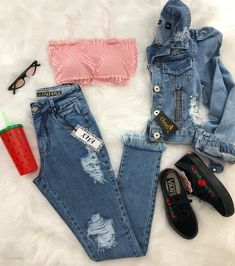 Lindo❤ Tumblr Outfits, Swag Outfits, Stylish Outfits, Cool Outfits, Teen Fashion Outfits, Denim Fashion, Outfits For Teens, Womens Fashion, Teenager Outfits