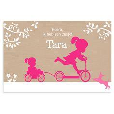 Hoera, ik heb een zusje! Lief liggend silhouet geboortekaartje met 2 zusjes op de step van JilleJille.nl Verzenden gratis