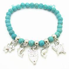 Nueva llegada de perlas de color turquesa pulsera/joyería de moda, de plata antigua plateado elefante de delfines y encanto de la mar...