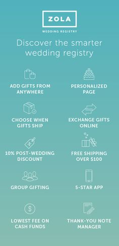 It's never been easier to customize your wedding registry than with Zola. We make the process easy from start to shipment. Exchange gifts, schedule delivery, manage thank yous, and more, all in one place. Reap the rewards with us today!