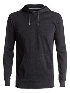 quiksilver, Guitar Magic Long Sleeve Hooded Tee, DARK GREY HEATHER (ktfh)