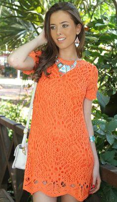 Chorrilho de ideias: Vestido curto laranja em crochet