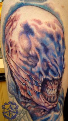 Hellraiser Chatterer Tattoo done by Sean Ambrose at Arrows and Embers Custom Tattooing