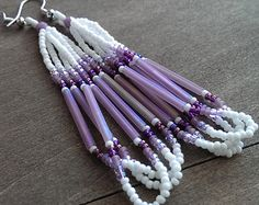 Native American beaded earrings - purple and white - beadwork earrings - seed beaded earrings