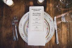 simple but elegant menu card / Brooklyn Winery wedding. © Khaki Bedford Photography www.khakibedfordphoto.com